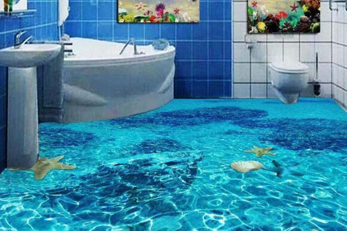 Wavy Bathroom 3D Floor Designs Bangladesh - Charutuli Home Solutions
